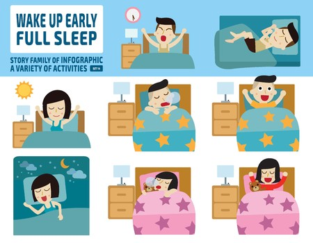 woman sleep: wake up early and full sleep.health care concept.infographic elements.flat cute cartoon design illustration.