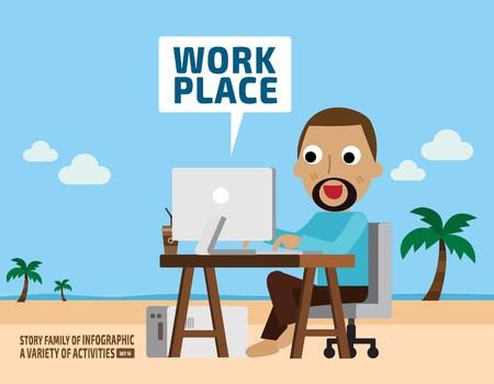 imagination of work.business concept.infographic elements.flat cute cartoon design illustration. Vector Illustration