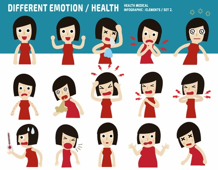 dizziness: collection asian woman.sick with different diseases.medical concept.infographic elements.flat cute cartoon design illustration. Illustration