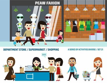 슈퍼마켓과 백화점 store.business 헤더 concept.infographic elements.flat 귀여운 만화 디자인 일러스트 레이 션.