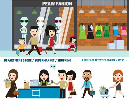supermarket and department store.business header concept.infographic elements.flat cute cartoon design illustration. Vettoriali