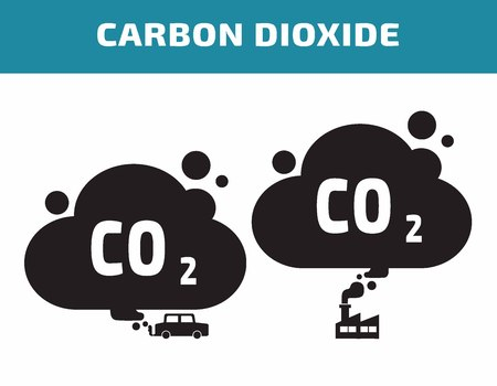 toxic cloud: carbon dioxide icon.environment concept.flat cute cartoon design illustration.isolated on white background.