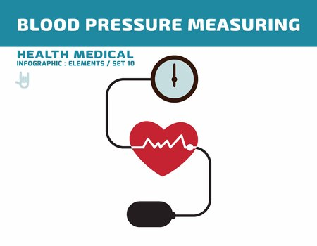 hypertensive: Blood pressure. sphygmomanometer.health care concept.flat cute cartoon design illustration.isolated on white background.