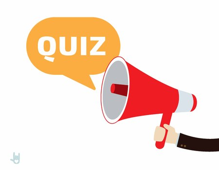 quiz: Hand business people holding megaphone.quiz conceptflat cute cartoon design illustration.isolated on white background.