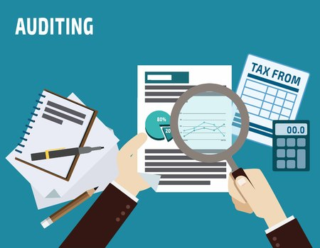 auditing. business concept.flat cute cartoon design illustration.isolated on blue background.