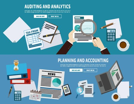 accounts: auditing plan account analyze.business concept.flat cute cartoon design illustration.isolated on blue background.
