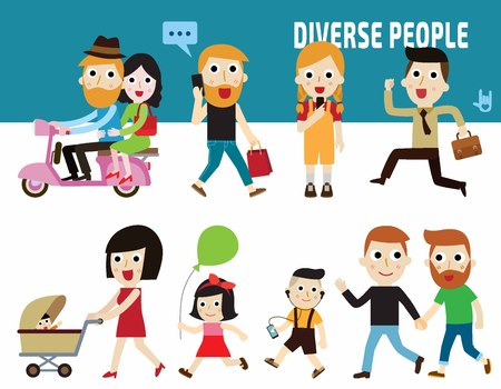 holding hands: diverse people.citizen concept.flat cute cartoon design illustration.isolated on white background. Illustration