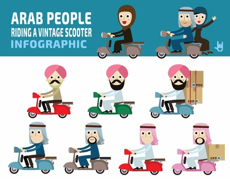 arab people ride motorcycle.arabian people concept.flat cute cartoon design illustration.isolated on white background.