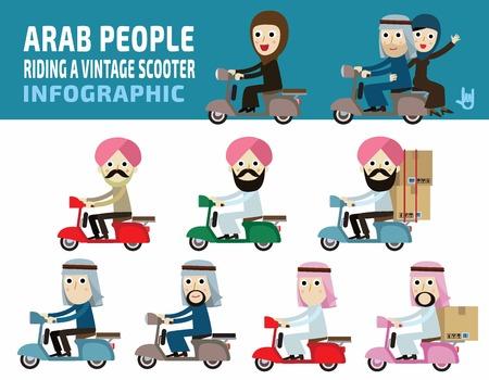 Arabische volk rijden motorcycle.arabian mensen concept.flat leuke cartoon ontwerp illustration.isolated op een witte achtergrond. Vector Illustratie