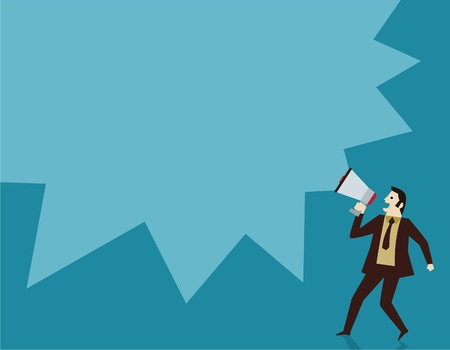 business people holding megaphone.advertising conceptflat cute cartoon design illustration.isolated on blue background.