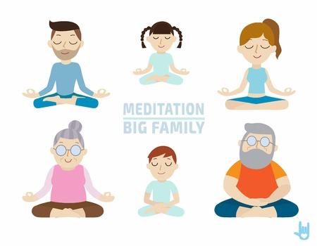 méditation. design.healthcare concept.flat conception de bande dessinée mignonne des gens de caractère illustration.isolated sur fond blanc.