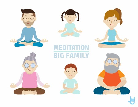 meditation. people character design.healthcare concept.flat cute cartoon design illustration.isolated on white background. Çizim