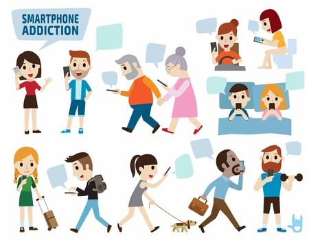 smartphone addiction.bad lifestyle concept.infographic element.flat cute cartoon design illustration.isolated on white background. Vettoriali