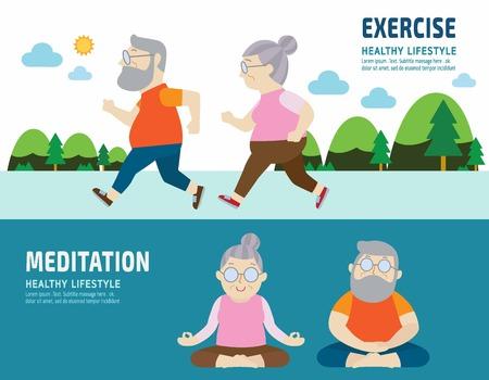 elder tree: couple senior.activity lifestyle concept.flat cute cartoon design illustration. Illustration