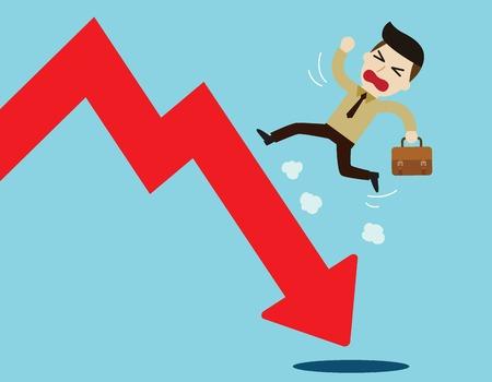 meltdown: businessman running on a falling market arrowbusiness concept.flat cute cartoon design illustration.isolated on blue background.
