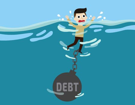 credit crunch: businessman drown.business concept.flat cute cartoon design illustration.isolated on blue background. Illustration