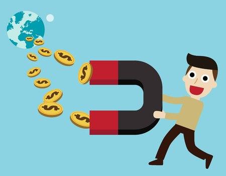 magnetize: businessman holding magnet.business concept.flat cute cartoon design illustration.isolated on blue background. Illustration