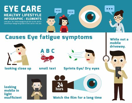 weary: eye care. infographic element.health concept.flat cute cartoon design illustration.isolated on white background.