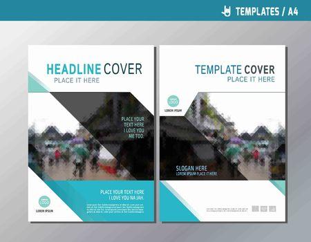 website design: Blue vector annual report leaflet brochure template A4 size designflyer multipurpose modern stylebook cover presentation layout designabstract flat background Illustration