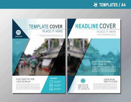 multipurpose: Blue vector annual report leaflet brochure template A4 size designflyer multipurpose modern stylebook cover presentation layout designabstract flat background Illustration