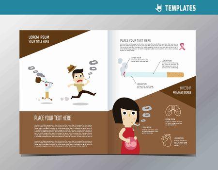 smoking flyer template A4 size design.infographic elements wellness conceptflat cute cartoon illustration. Vector Illustration