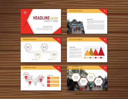 multipurpose: collection of red presentation templateflat design for advertising