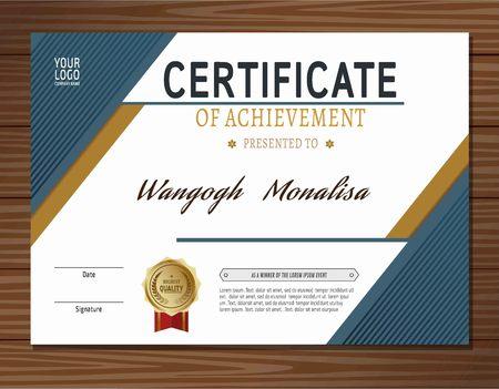 certificate template: blue certificate template. vector
