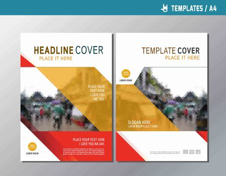 multipurpose: red vector annual report leaflet brochure template A4 size designflyer multipurpose modern stylebook cover presentation layout designabstract flat background