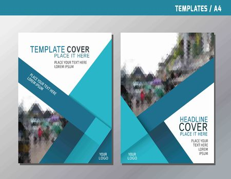blue book: blue abstract flyer brochure cover template A4 size designflat vector for business annual poster report book leaflet