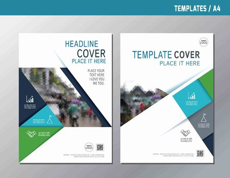 leaflet design: blue abstract  flat vector annual report leaflet brochure template A4 size designflyer modern multipurpose stylebook  cover layout design Illustration