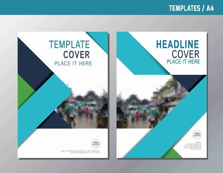 blue abstract  flat vector annual report leaflet brochure template A4 size designflyer modern multipurpose stylebook  cover layout design Reklamní fotografie - 56917554