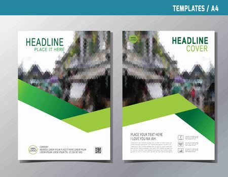 green abstract  flat vector annual report leaflet brochure template A4 size designflyer modern multipurpose stylebook cover layout design