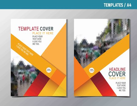 red yellow abstract  flat vector annual reportleaflet brochure template A4 size designflyer modern multipurpose stylebook cover layout design Stock Illustratie