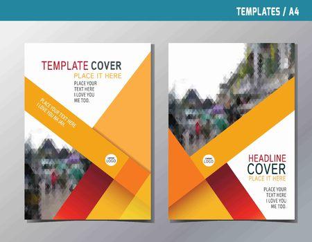 rot, gelb, abstrakt flach Vektor Jahres reportleaflet Broschüre Vorlage A4-Format designflyer moderne Mehrzweck-Stylebook Cover-Layout-Design