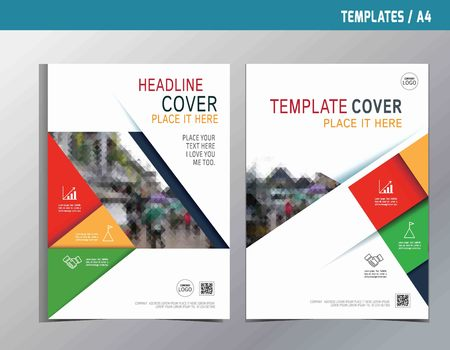 annual report: red yellow green abstract  flat vector annual report leaflet brochure template A4 size design.flyer modern multipurpose style.book cover layout design. Illustration