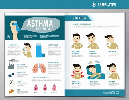 medicine chest: Asthma infographic. flyer template A4 size design. flat cute cartoon illustration. wellness concept.