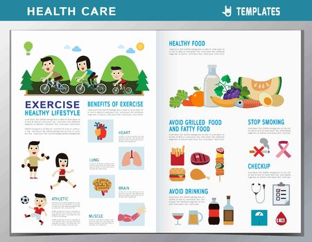 exercise concept. healthy people. flat cute cartoon design illustration. isolated on white background. template cover for  magazine website leaflet Çizim