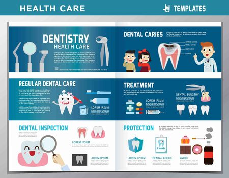 leaflet of dental clinic services.flat cute cartoon design illustration.isolated on white and blue background.template cover for magazine or website Reklamní fotografie - 57016726