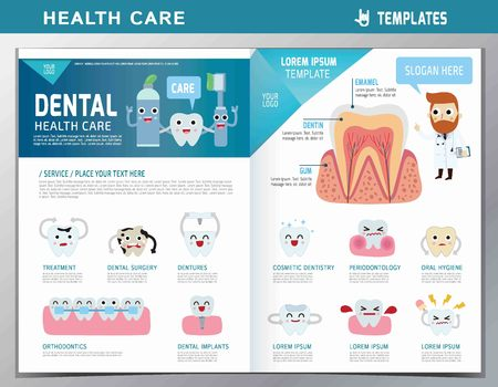 leaflet of dental clinic services.flat cute cartoon design illustration.isolated on white background.template cover for magazine or website Иллюстрация