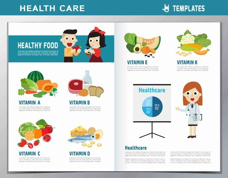 d data: Set of vitamins and minerals foods.infographic element.health care concept.flat cute cartoon design illustration.isolated on white background.template cover for magazine or website