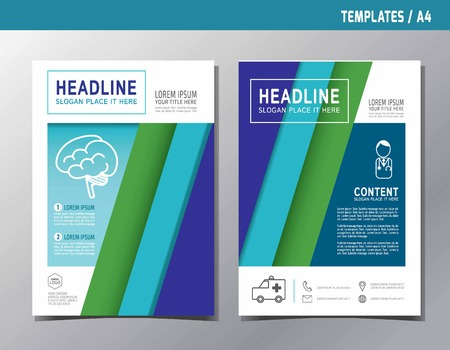 sciences: Flyer multipurpose design vector template in A4 size. Templates or Banners for Medical and Health Care concept.Blue abstract brochure modern style.wellness marketing illustration. Illustration