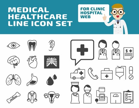 fee: Healthcare thin line icon symbols design. Set of Modern wellness linear icons vector. health medical concept Illustration