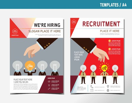 recruiting: Hiring. Recruitment. Hand pick to professional of businessman.flat vector recruiting illustration concept.for presentation web banner poster printed materials. Illustration