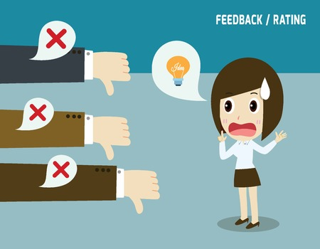Erfolglos businesswoman.Negative Feedback conceptual.Colleagues nicht mögen, dass idea.not Konzept akzeptiert.