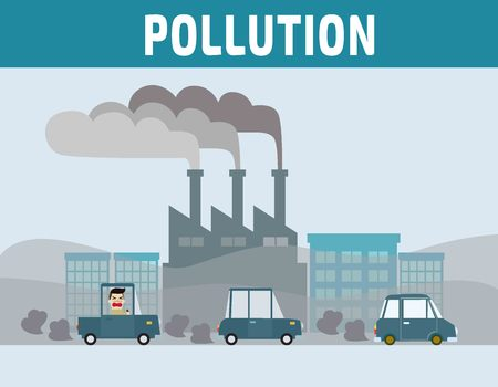 toxic emissions: Factory pipe polluting air. Car pollution.Motorist in cities with air pollution.Environmental problems concept.cartoon flat vector illustration.
