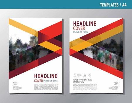 Volantino opuscolo brochure modello multiuso formato A4. Concetto di stile moderno di vettore piatto rosso astratto. Progettazione del layout di copertina del libro di relazione annuale. Vettoriali