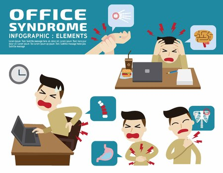 neck pain: Office syndrome. Headache.Hand pain. Neck pain. Back pain.Stomachache, Inflammation medical concept.Vector flat design illustartion.isolated on white background. infographic elements.