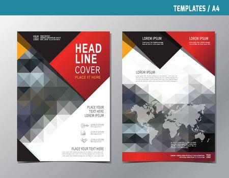 portadas: folleto de plantilla de folleto polivalente A4 size.Abstract estilo de informe concept.Annual diseño de diseño de la portada del libro moderno plana de color rojo y negro.