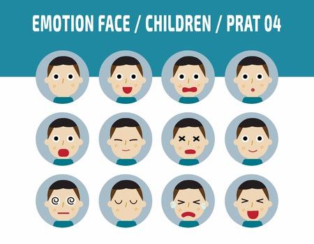 azië kids emoties avatar gezicht feelings.flat leuke kinderen emoties vector design illustration.set van iconen leuke jongen met een ander gevoel facial.isolated op een witte achtergrond.