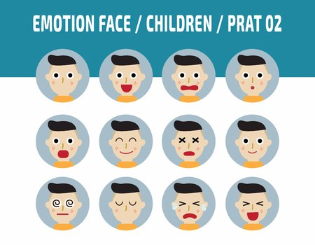 bemused: kids emotions avatar face feelings.flat cute cartoon children emotions vector design illustration.set of icons cute boy with different feeling facial.isolated on white background.
